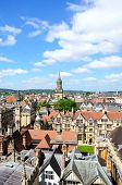 stock photo of church-of-england  - View over the city rooftops from the University church of St Mary spire Oxford Oxfordshire England UK Western Europe - JPG