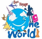 stock photo of bon voyage  - Bon voyage One world typography world trip from Asia India to North America - JPG