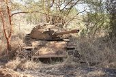 stock photo of north sudan  - Northern Sudanese tank destroyed in civil war in South Sudan - JPG