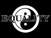 stock photo of superimpose  - THe traditional yin yang symbol in black and white with the word equality superimposed on the top - JPG