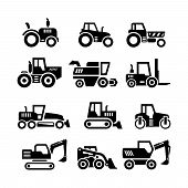 stock photo of construction machine  - Set icons of tractors farm and buildings machines construction vehicles isolated on white - JPG