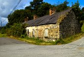 image of derelict  - A derelict old cottage in a rural setting - JPG