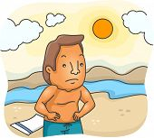 picture of sunburn  - Illustration Featuring a Man Unhappy Over His Sunburn - JPG