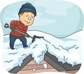 stock photo of snow shovel  - Illustration of a Man Shoveling Snow from His Roof - JPG