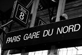 stock photo of gare  - Gare du Nord train station sign in the busiest train station of Paris - JPG