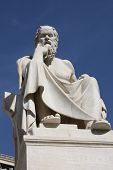 stock photo of socrates  - Neoclassical statue of ancient Greek philosopher Socrates outside Academy of Athens in Greece - JPG