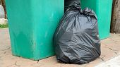 foto of garbage bin  - black garbage bag and green bin on footpath - JPG