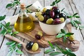 stock photo of kalamata olives  - Mixed marinated olives  - JPG