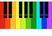 foto of rainbow piano  - Editable vector colorful piano background with space for your text - JPG