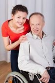 image of grandpa  - Vertical view of smiling grandpa and granddaughter - JPG