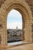 pic of anjou  - view of urban port and quay des Carmes from Angers Castle France - JPG