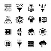 image of transfer  - Data filter and data transfer icons - JPG