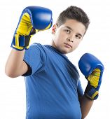 picture of pre-adolescent child  - Child ready to swing left hook isolated on white background - JPG