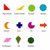image of heptagon  - image of shapes chart for kids vector isolate on white - JPG