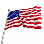 picture of waving american flag  - American USA 3d flag on white background - JPG