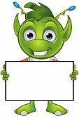 image of alien  - A cartoon illustration of a cute little green alien character with pointy ears - JPG