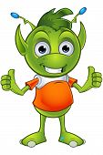 picture of alien  - A cartoon illustration of a cute little green alien character with pointy ears - JPG