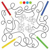 stock photo of maze  - maze game and coloring activity page for kids - JPG