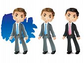 picture of chibi  - Stylized Business Man Character in a Suit Smiling - JPG