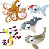 foto of dragon-fish  - vector isolated cartoon cute animals set - JPG