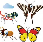 stock photo of monarch butterfly  - vector isolated cartoon cute animals set - JPG