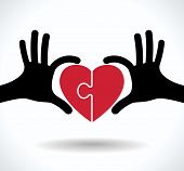 picture of waving hands  - puzzle in the shape of heart in human hands - JPG