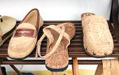 stock photo of clog  - Shoes from the treated bark of the cork oak - JPG