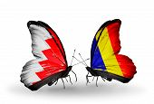 image of chad  - Two butterflies with flags on wings as symbol of relations Bahrain and Chad Romania - JPG