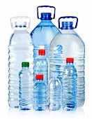 image of bottle water  - Different water bottles isolated on white with clipping path - JPG