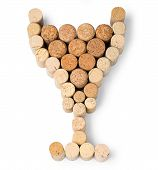 pic of chalice  - Corks in the shape of a wine glass or chalice on white background - JPG