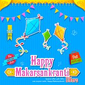 stock photo of kites  - illustration of Makar Sankranti wallpaper with colorful kite - JPG