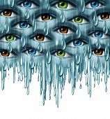 pic of grief  - World grief and global tragedy concept as a group of human eyes crying with tears in solidarity coming together as a metaphor for community support and emotional healing - JPG