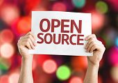 image of open-source  - Open Source card with colorful background with defocused lights - JPG