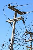 image of pole  - Electrical wire on pole - JPG