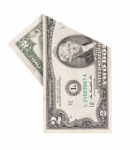 picture of two dollar bill  - Folded two dollars bill isolated on white background - JPG