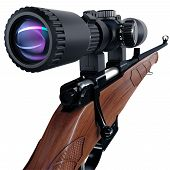 foto of rifle  - Back view on sniper scope of a rifle - JPG