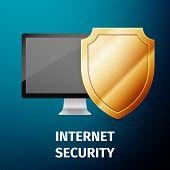 image of antivirus  - Computer display with shield  - JPG