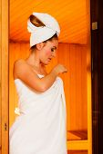picture of sauna woman  - Spa beauty treatment and relaxation concept - JPG