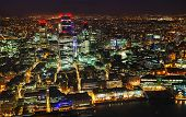 image of london night  - Aerial overview of the City of London financial ddistrict at night - JPG