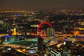 foto of london night  - Aerial overview of London city at the night time - JPG