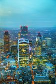 picture of london night  - Aerial overview of the City of London financial ddistrict at night - JPG