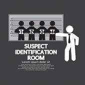 stock photo of police lineup  - Suspect Identification Room Vector Illustration - JPG