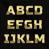 stock photo of glitter  - Gold glittering metal alphabet  - JPG