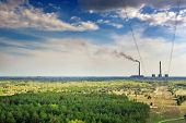 stock photo of thermal  - forest and thermal power plant sky clouds - JPG