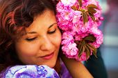 pic of lilas  - Beautiful Girl with flowers Spring Magic - JPG