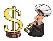 picture of hypnotizing  - Illustration of the businessman playing the flute like Indian yogi to hypnotize dollar sing - JPG