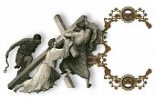 foto of crucifiction  - Victorian letter C with Jesus Christ enfeebled by the weight of the cross - JPG