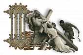 picture of crucifiction  - Victorian letter L with Jesus Christ enfeebled by the weight of the cross - JPG