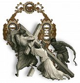 foto of crucifiction  - Victorian letter Q with Jesus Christ enfeebled by the weight of the cross - JPG