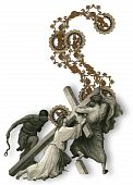 picture of crucifiction  - Victorian letter S with Jesus Christ enfeebled by the weight of the cross - JPG